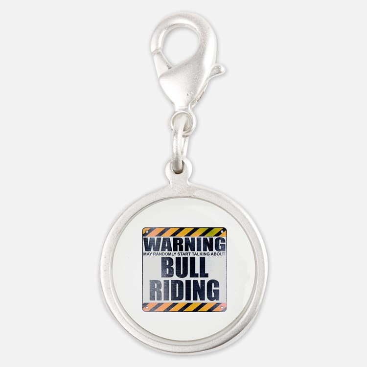 Warning: Bull Riding Silver Round Charm
