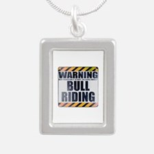 Warning: Bull Riding Silver Portrait Necklace