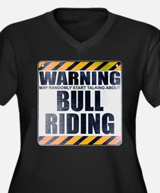 Warning: Bull Riding Women's Dark Plus Size V-Neck