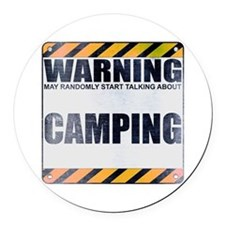 Warning: Camping Round Car Magnet