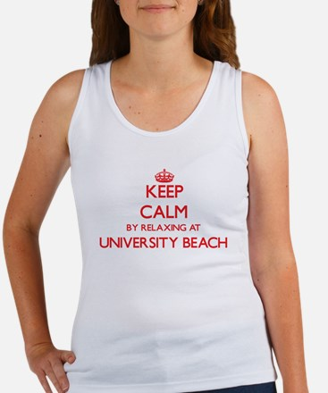 Keep calm by relaxing at University Beach Tank Top
