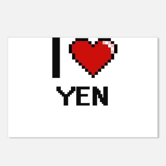 I love Yen digital design Postcards (Package of 8)