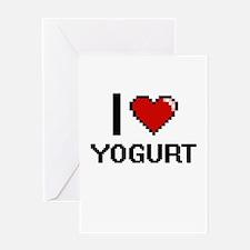 I love Yogurt digital design Greeting Cards