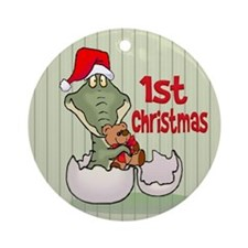 Gator 1st Christmas Ornament (Round)