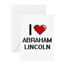 I love Abraham Lincoln digital desi Greeting Cards