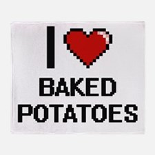 I love Baked Potatoes digital design Throw Blanket