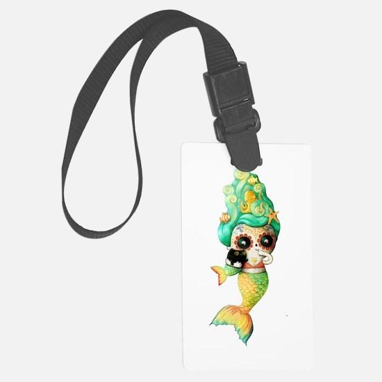 Dia de Los Muertos Cute Mermaid Girl Luggage Tag