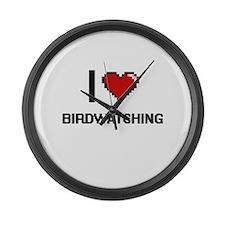 I love Birdwatching digital desig Large Wall Clock