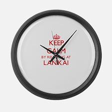 Keep calm by relaxing at Lanikai Large Wall Clock