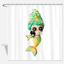 Dia de Los Muertos Cute Mermaid Girl Shower Curtai