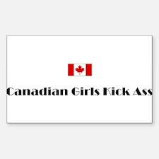 Canadian Girls Kick Ass Rectangular Bumper Stickers