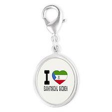 I Love Equatorial Guinea Silver Oval Charm