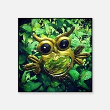 "Owl in the garden Square Sticker 3"" x 3"""