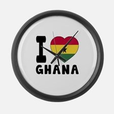 I Love Ghana Large Wall Clock