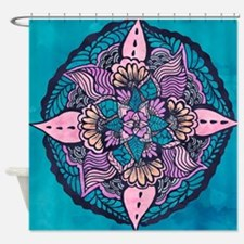 Bright purple pink watercolor white Shower Curtain