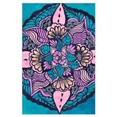 Bright purple pink watercolor white floral paisley Poster