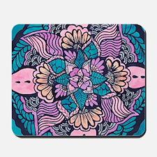Bright purple pink watercolor white flor Mousepad