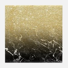 Modern girly luxurious faux gold glit Tile Coaster