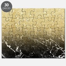Modern girly luxurious faux gold glitter bl Puzzle