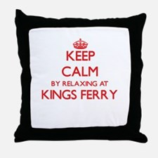 Keep calm by relaxing at Kings Ferry Throw Pillow