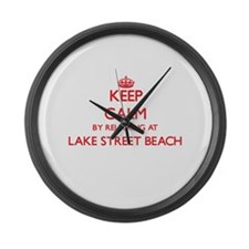 Keep calm by relaxing at Lake Str Large Wall Clock