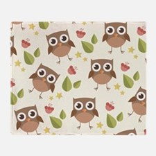 Retro Owl Pattern Throw Blanket