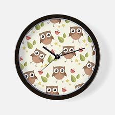 Retro Owl Pattern Wall Clock