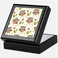 Retro Owl Pattern Keepsake Box