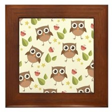 Retro Owl Pattern Framed Tile