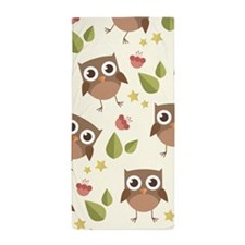 Retro Owl Pattern Beach Towel