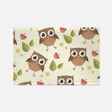 Retro Owl Pattern Rectangle Magnet