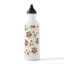 Retro Owl Pattern Water Bottle