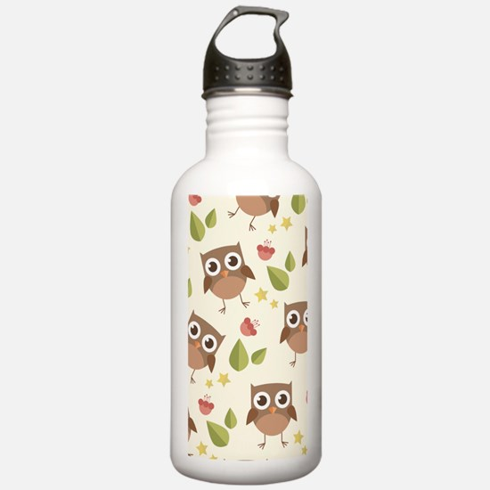 Retro Owl Pattern Water Bottle