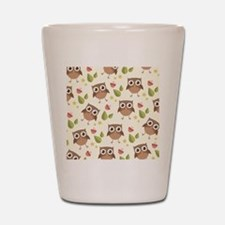 Retro Owl Pattern Shot Glass