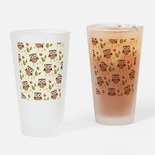 Retro Owl Pattern Drinking Glass