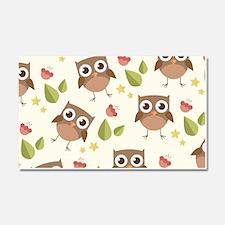 Retro Owl Pattern Car Magnet 20 x 12