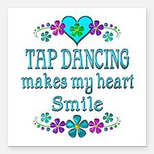"""Tap Dancing Smiles Square Car Magnet 3"""" x 3"""""""
