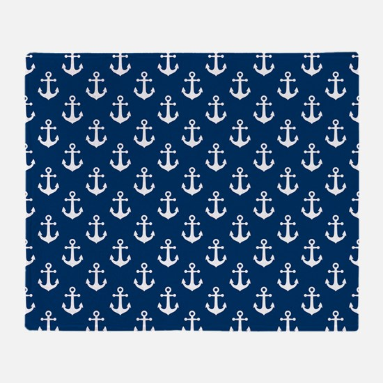 White Anchors Navy Blue Background P Throw Blanket