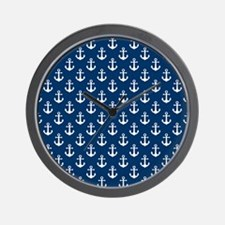 White Anchors Navy Blue Background Patt Wall Clock