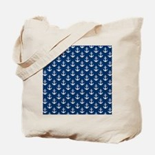 White Anchors Navy Blue Background Patter Tote Bag