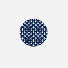 White Anchors Navy Blue Background Pat Mini Button
