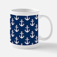 White Anchors Navy Blue Background Patt Mug