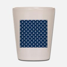 White Anchors Navy Blue Background Patt Shot Glass