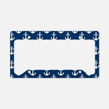 White Anchors Navy Blue Backg License Plate Holder