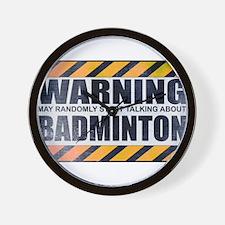 Warning: Badminton Wall Clock