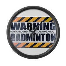 Warning: Badminton Large Wall Clock