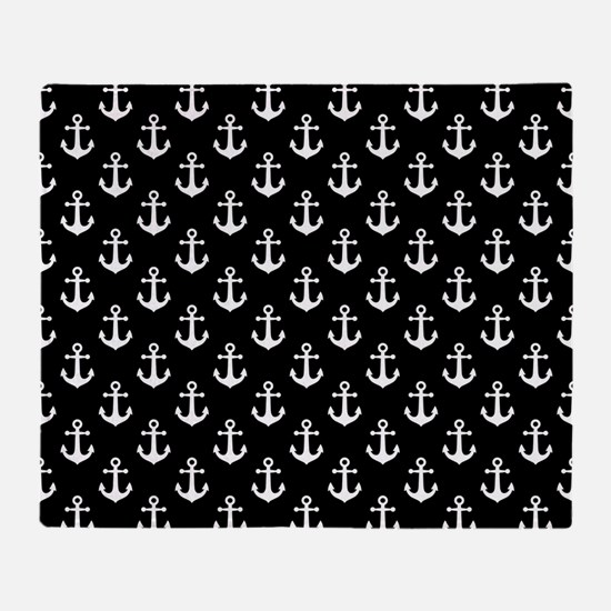 White Anchors Black Background Patte Throw Blanket