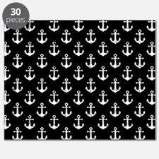 White Anchors Black Background Pattern Puzzle