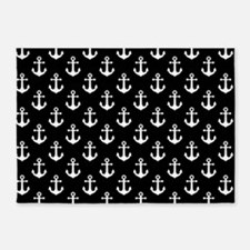 White Anchors Black Background Patt 5'x7'Area Rug