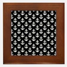 White Anchors Black Background Pattern Framed Tile